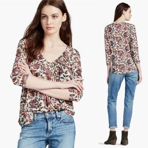 Lucky Brand Printed Pintuck Top Abstract Floral